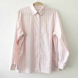 Foxcroft Button Up Shirt 100% Cotton Size 16 Plaid